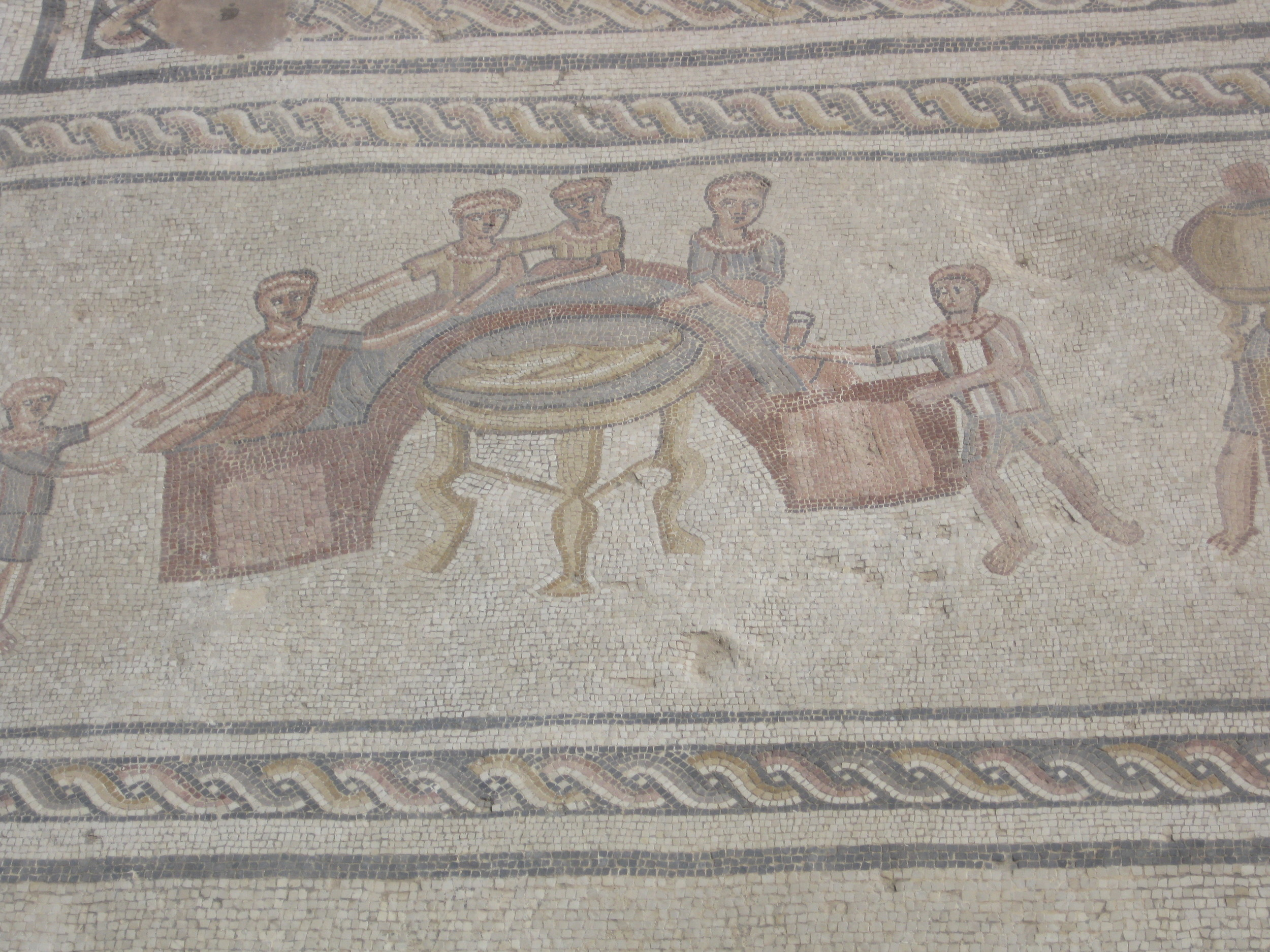 By Ovedc --Stibadium dining in a late antique mosaic from the city of Sepphoris