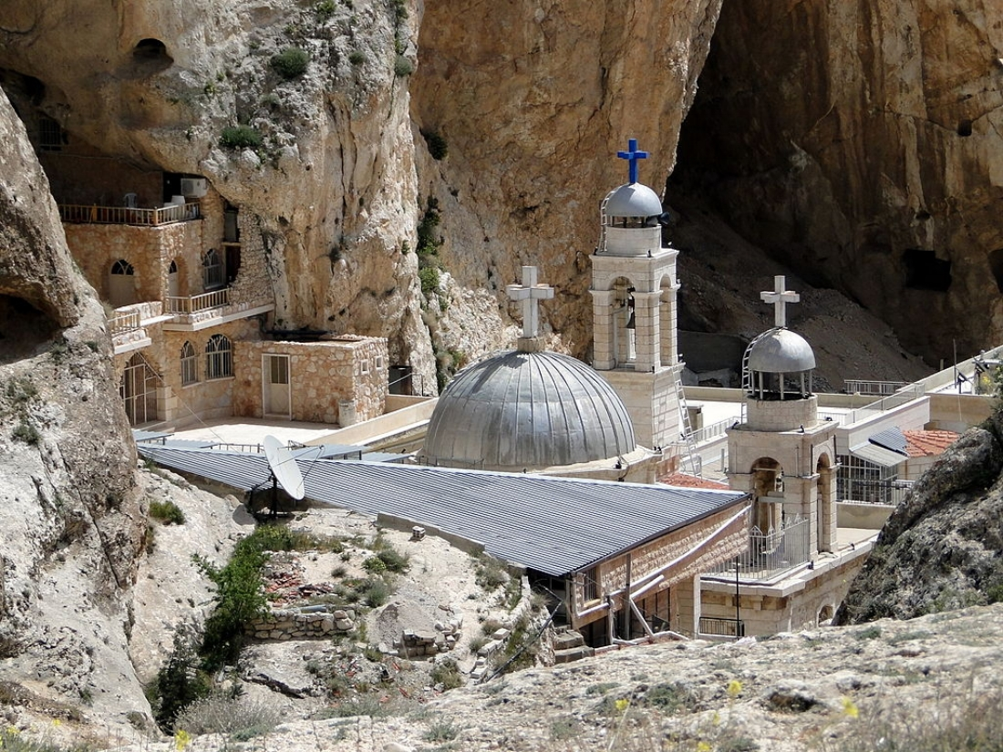 View of Saint Thecla (Mar Takla) monastery,  Ma'loula  , Syria (Wikipedia)
