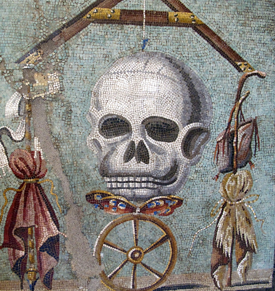 """""""Memento Mori"""" Mosaic from Pompeii depicting the Wheel of Fortune in Naples National Archaeological Museum, Italy. CC"""