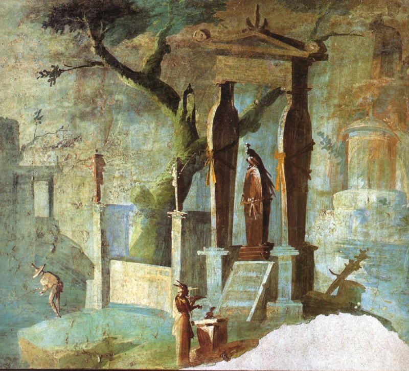 Roman fresco from temple of Isis in Pompeii