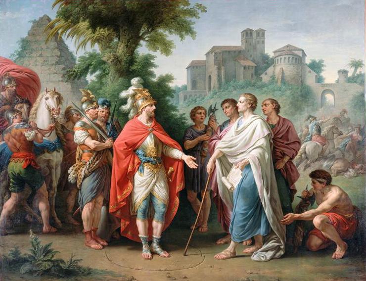 Antiochus IV, C. Popillius Laenas, and the famous circle--Louis-Jean-François Lagrenée [Public domain], via Wikimedia Commons