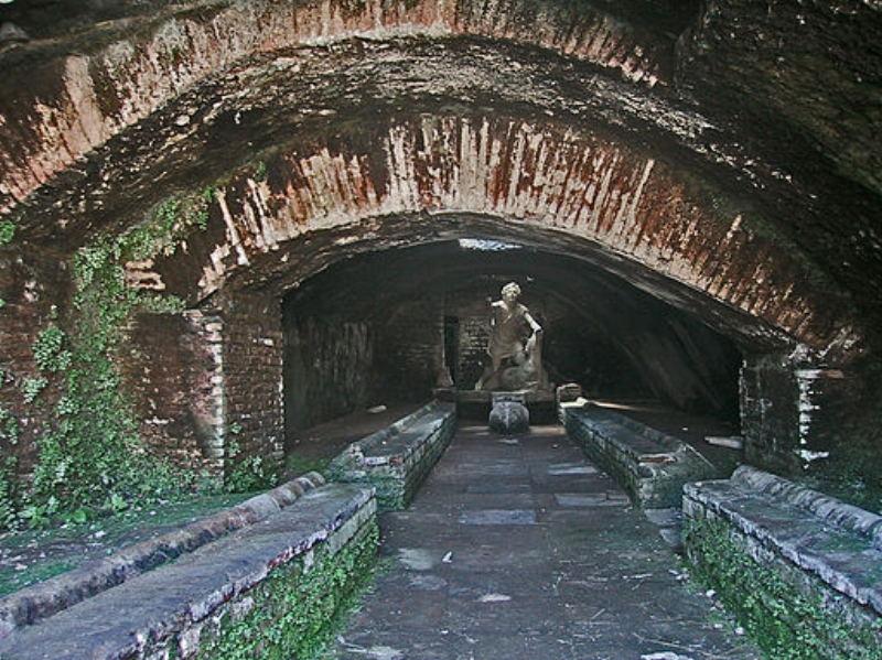 Mithraeum of the Baths of Mithras (Mitreo delle Terme del Mitra) viewed from the north. Ostia Antica, Italy. Wikimedia Commons Author:   Michelle Touton