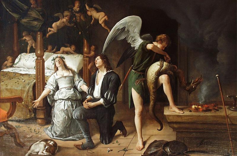 """Tobias' and Sara's Wedding Night"" by Jan Havicksz Steen ca. 1626 – 1679 in Museum Bredius"