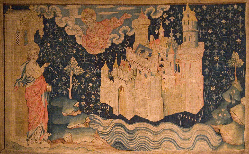 """""""The New Jerusalem"""" number 80 from 'The Apocalypse of Angers', 1373-87 ( tapestry ) by Nicholas Bataille. Photograph by Kimon Berlin,  CC BY-SA 2.5-2.0-1.0 ,via Wikimedia Commons"""