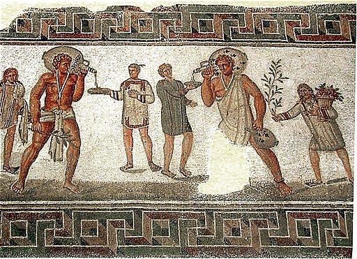 """""""Mosaïque des échansons"""", du IIe siècle ap. J.-C., provenant de Dougga, au Musée national du Bardo (Tunisie) - Pascal Radigue (2001) - Wikimedia Commons"""