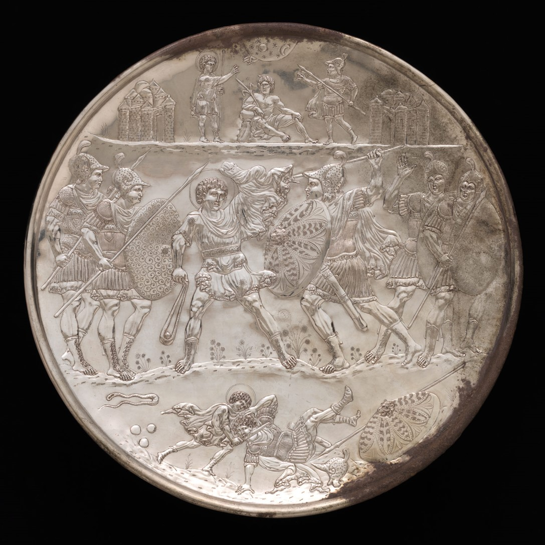 David and Goliath, Silver Plate from the Karavas hoard (Constantinople, 629-30CE) | Currently held in the Met Museum, NY | http://www.metmuseum.org/toah/works-of-art/17.190.396/