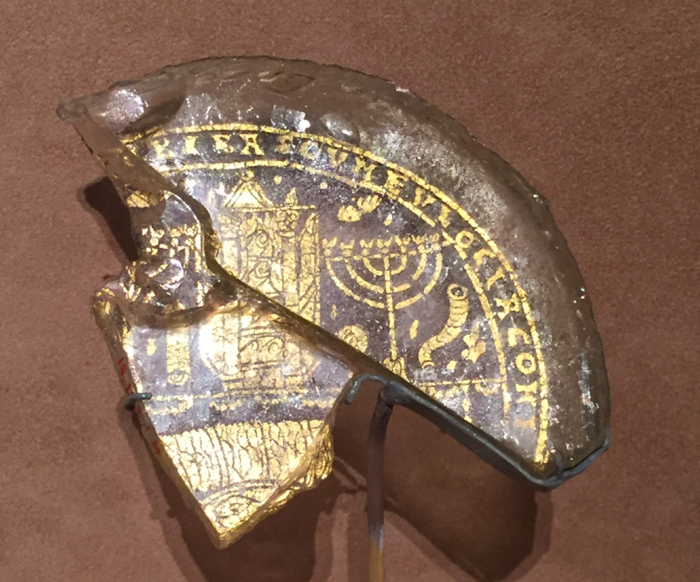 Gold leaf and glass bowl base, with Menorah, Shofar, and Torah Ark | Roman, ca. 300-350, currently  on display in the Metropolitan Museum , New York.