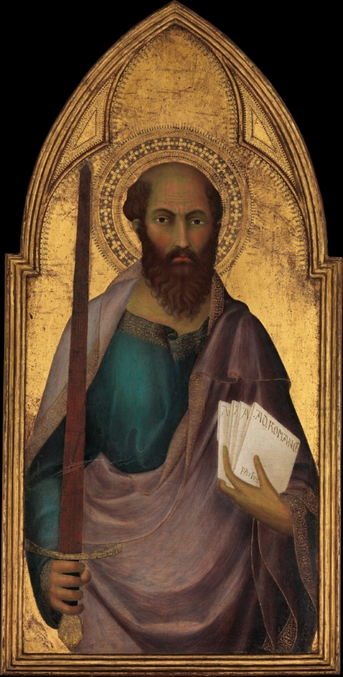 St. Paul by Lippo Memmi.On view at The Met Fifth Avenue in  Gallery 625 [public domain]