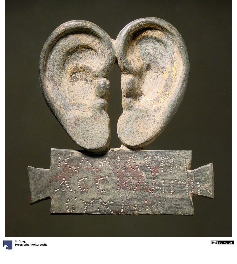 "Ear Votive from the Asklepieion in Pergamon ( Antikensammlung der Staatlichen Museen zu Berlin; I first saw this image on a tweet: Bond, Sarah (@SarahEBond). ""Another formulaic ear thank you (Asklepieion, Pergamon; now at the Antikensammlung der Staatlichen Museen zu Berlin)."" 4 June 2017. 9:50am. Tweet)"
