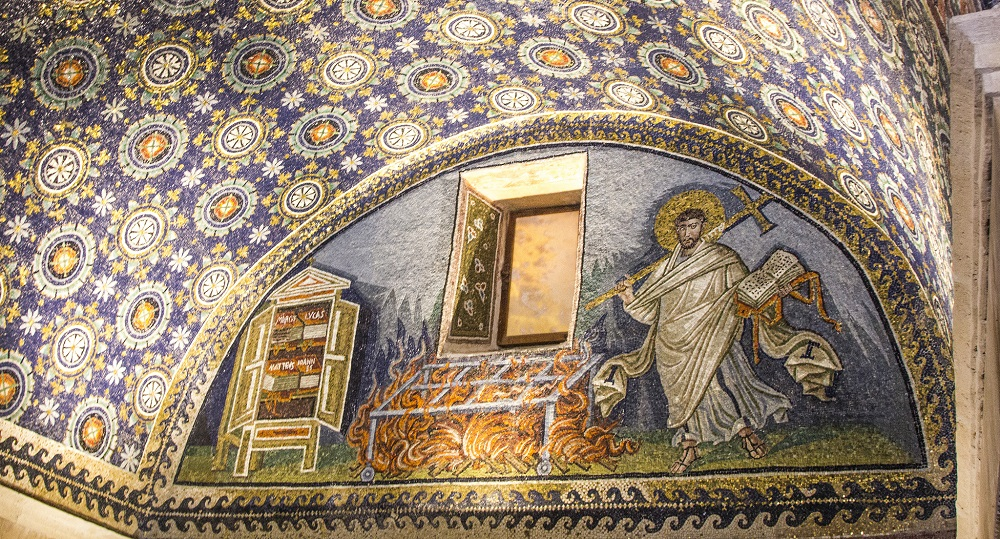 Mosaic of either St. Laurence or St. Vincent | Fifth-century lunette from the Mausoleum of Galla Placidia, Ravenna |  Image source