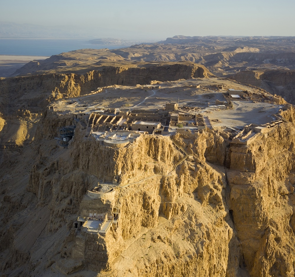 Aerial view of Masada, Israel | Herodian fortress constructed 37-31 BCE |  Image source