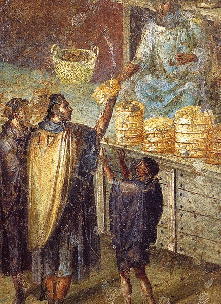 Sale of Bread at a Market Stall  -Roman fresco from the Praedia of Julia Felix in Pompeii. Museo Archeologico Nazionale (Naples)