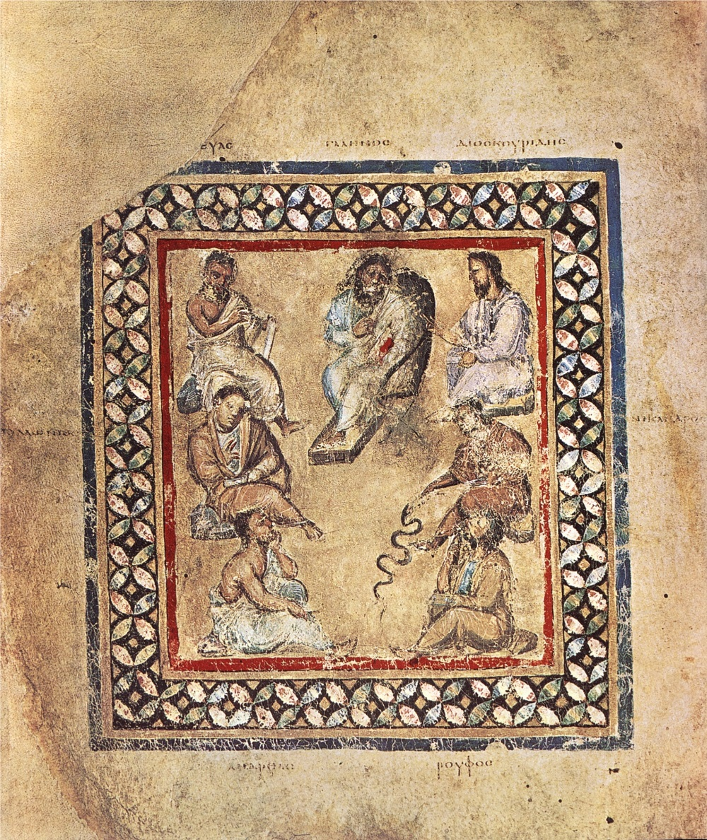Illustration of Galen and other ancient medics | Vienna Dioskorides (ca.512), f. 3v |  Image source