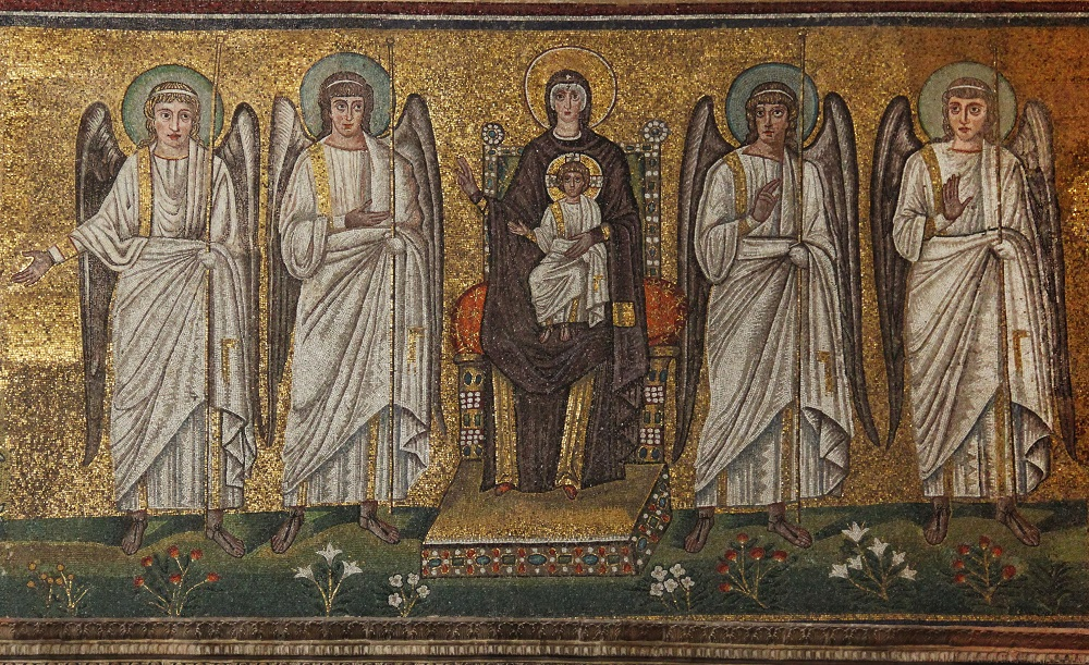Mosaic of Mary and Angelic Court  |  Basilica of Sant'Apollinare Nuovo, Ravenna  |   Image Source