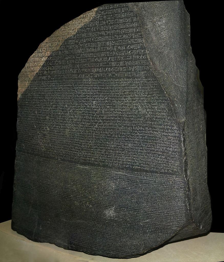 The  Rosetta Stone in the  British Museum .Attribution:© Hans Hillewaert