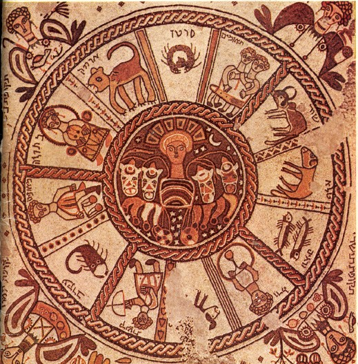 Zodiac mosaic at the Beit Alpha synagogue.