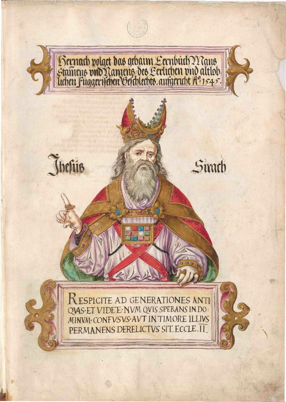 Ben Sira, from the Fugger Honorary     Illustration from the workshop of Jörg Breu, c.1545-49       Image Source