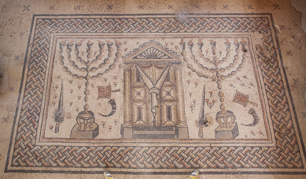 Mosaic representing Tabernacle with flanking menorah | Fifth-century synagogue, Tzipori |  Image Source