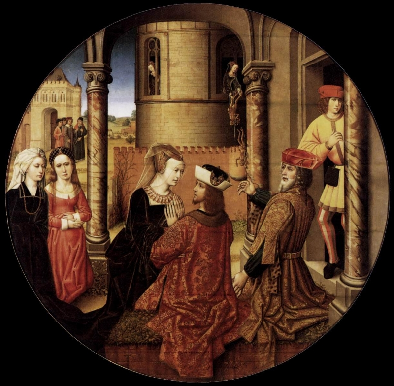 Master of Affligem,    Joseph and Asenath     (ca. 1500), Color on oak panel.