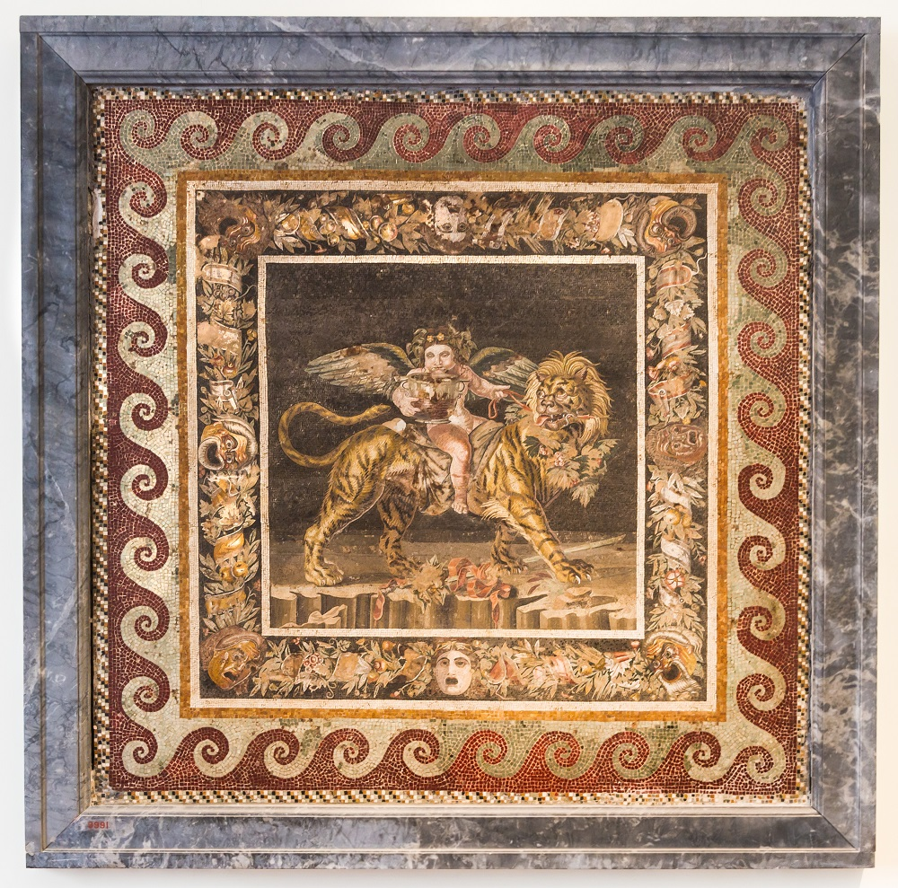 Roman mosaic of Dionysus riding a tiger   House of the Faun, Pompeii    Image source