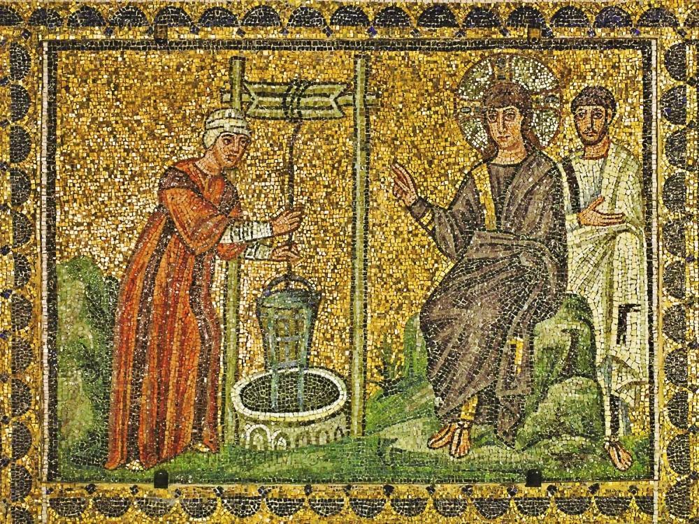Sixth-century mosaic of Jesus and the Samaritan Woman | Santa Apollinare Nuovo, Ravenna |  Image Source