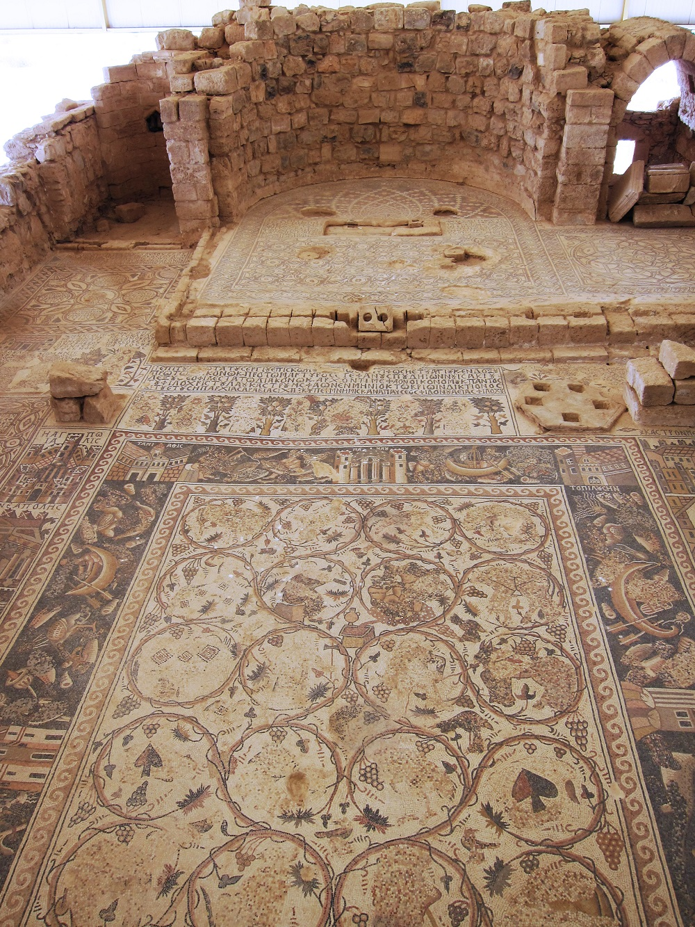 Early Islamic-period mosaic with elaborate floral and Nilotic mosaics   Church of St. Stephen, Umm ar-Rasas    Image Source
