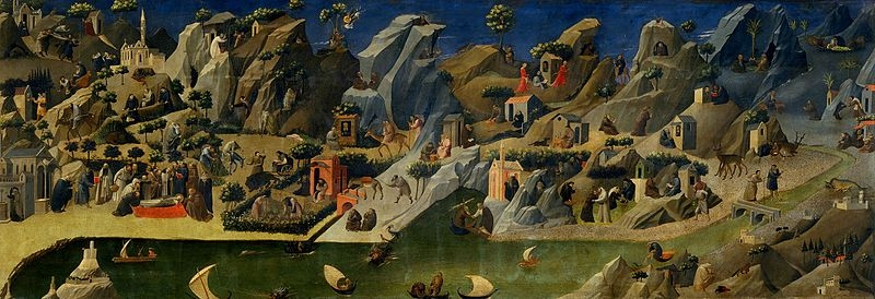 Gherardo Starnina - Thebaid , ca. 1420, Tempera on wood ( Wikimedia Commons ) [Sometimes attributed to   Fra Angelico  ]