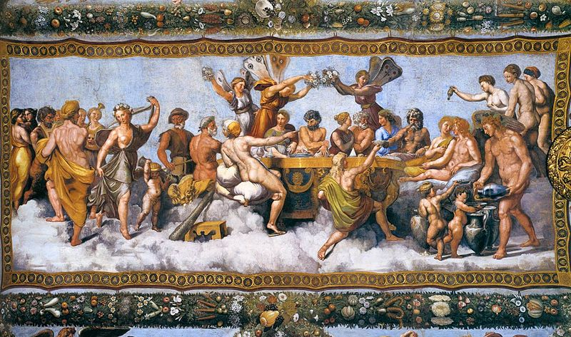 The Wedding Banquet of Cupid and Psyche (1517) by Raphael.Villa Farnesina, Rome