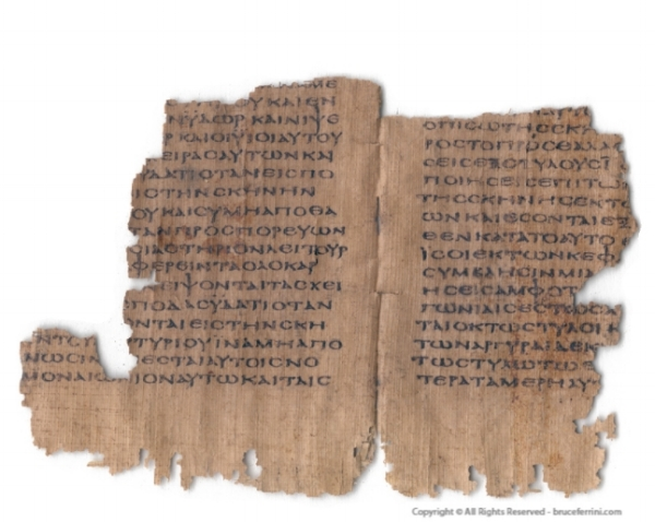 Papyrus bifolium from a codex containing Exodus in Greek at one point in the possession of Bruce Ferrini; image source:  http://www.bruceferrini.com/