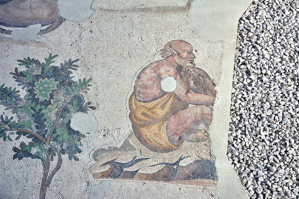 Mosaic of a philosopher sitting on a rock | Likely sixth century, currently housed in the Great Palace Mosaic Museum, Istanbul |  Image Source