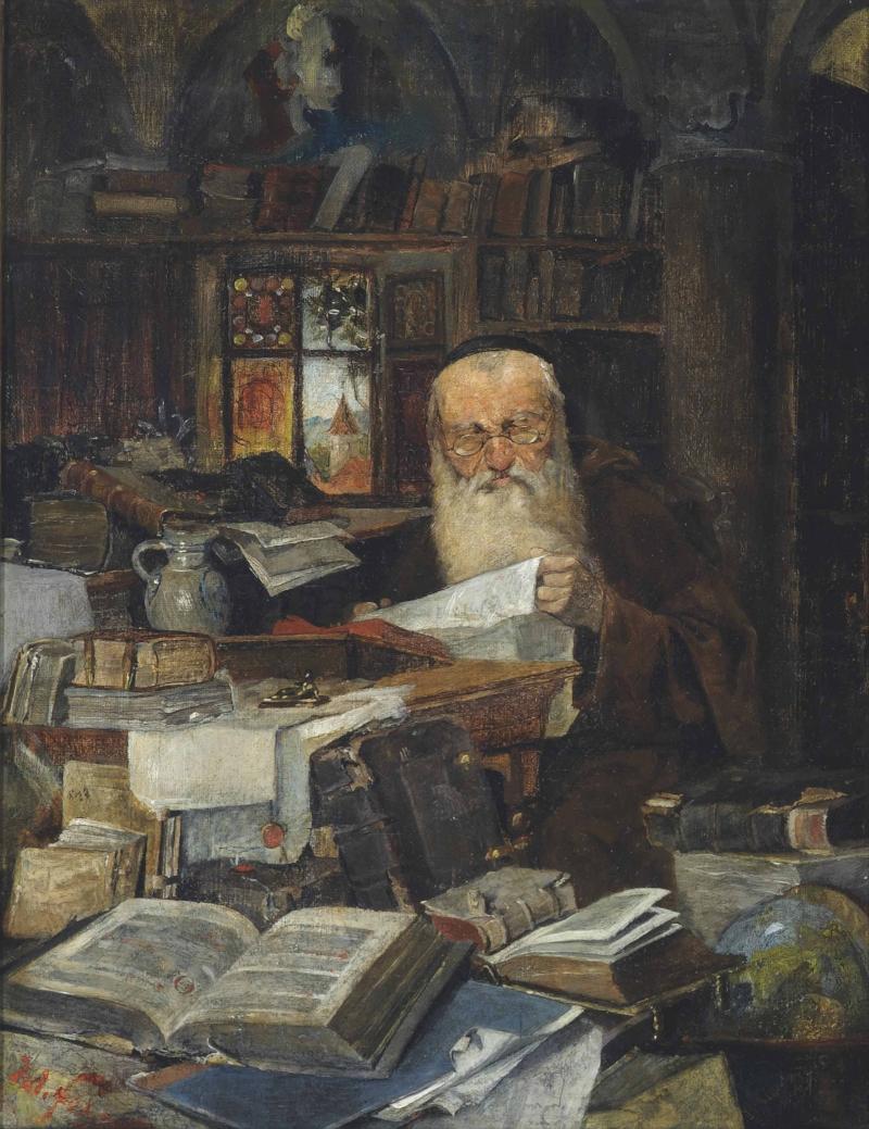 "Julius Fehr (German, 1860-1900) ""A Rabbi scholar in his study"""
