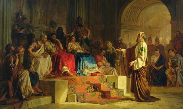 Nikolai Bodarvesky,  Trial of the Apostle Paul  (1875)  Wikimedia Commons