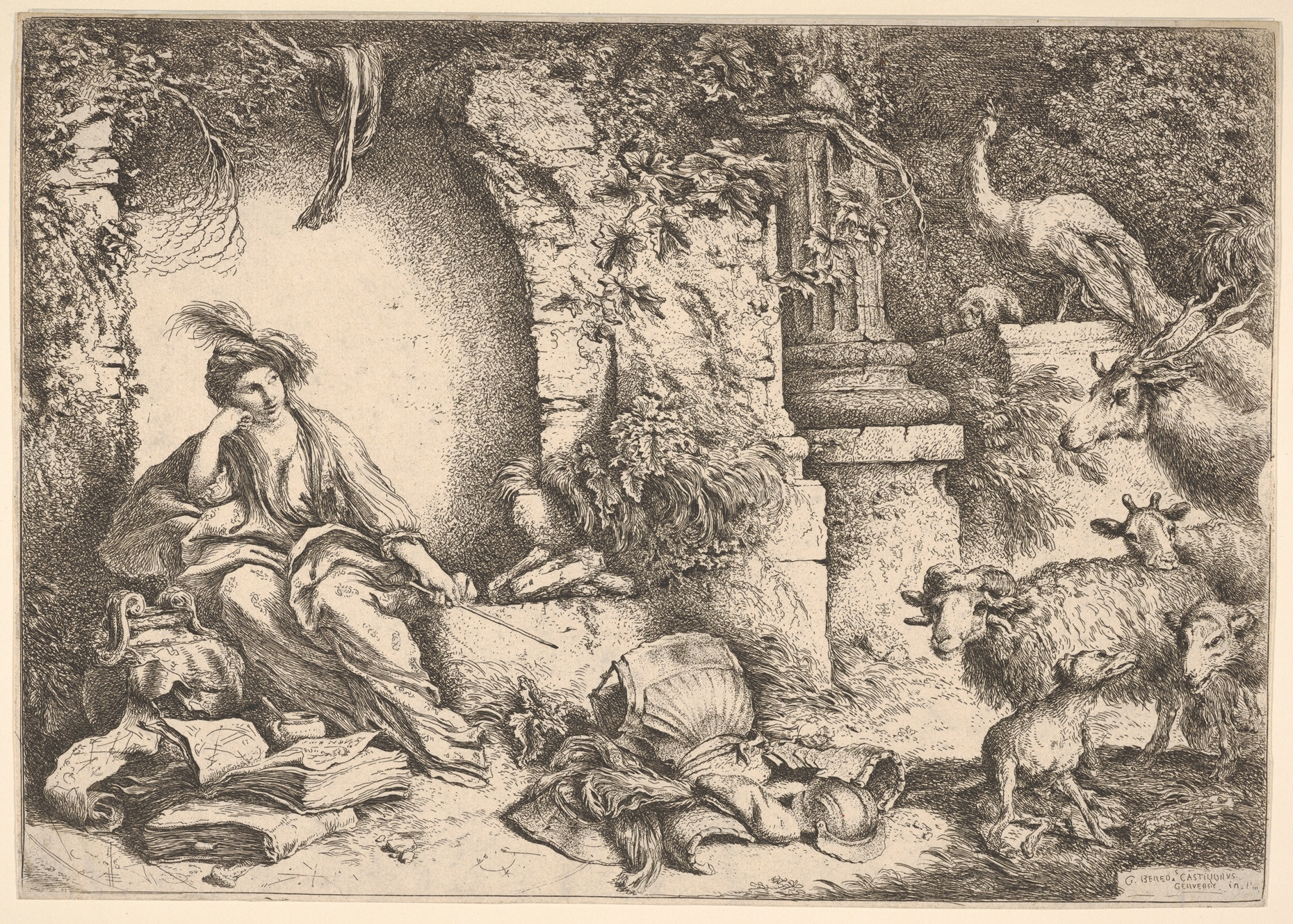 """Giovanni Benedetto Castiglione, """"Circe changing the companions of Ulysses into beasts"""" (1650-1651)  MET Collection"""