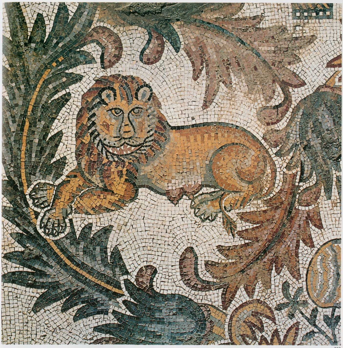 Lion, detail of mosaic, Mount Nebo ( Mosaics of Jordan , fig. 219 on p. 169). Chapel of the Priest John at Khirbat-al-Mukhayyat, Jordan 565 CE. Courtesy of the Franciscan Custody of the Holy Land, Mount Nebo, and the American Center of Oriental Research, Amman. Permission obtained by author.