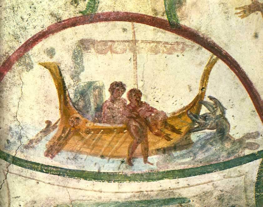 Jonah being thrown into the Sea. Catacomb of Saint Peter and Saint Marcellino, Rome, Italy, via wikicommons.