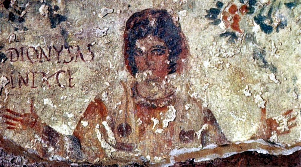 Ca. early fourth-century painting of a woman | Catacomb of Calixtus, Rome |  Image Source