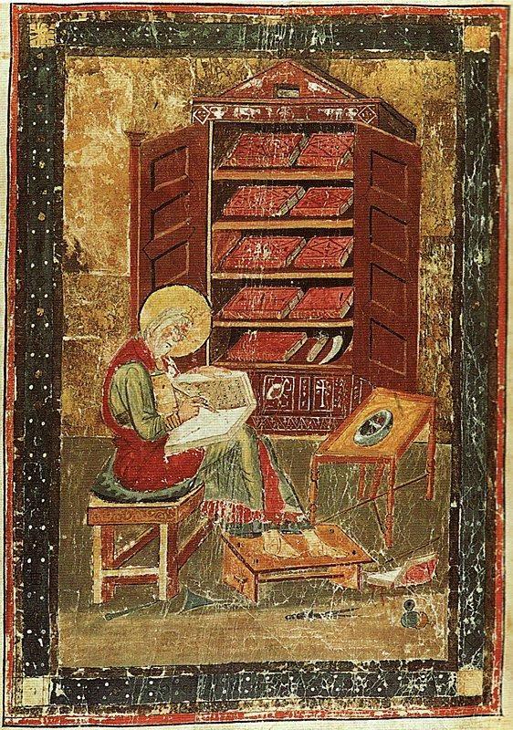Portrait of Ezra, from folio 5r of The Codex Amiatinus. © Biblioteca Medicea Laurenziana