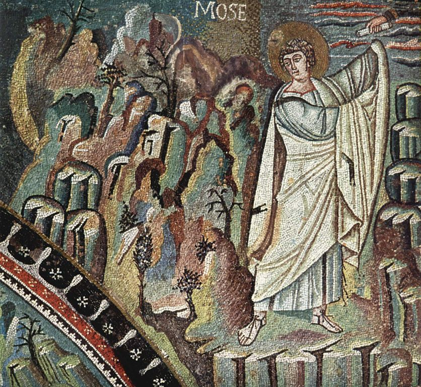 """Moses receiving the law"" in the Basilica of San Vitale is a church in Ravenna, Italy,"