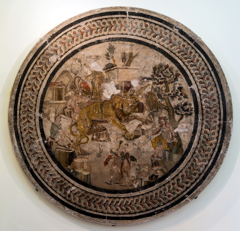 Mosaic medallion of a chained lion and Dionysius | From Pompeii, currently held in the Naples National Archaeological Museum |  Image Source