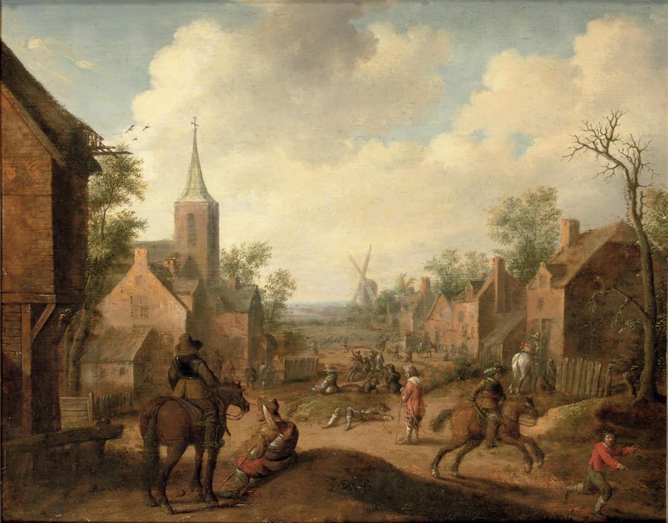 Soldiers plundering a village, by Joost Cornelisz Droochsloot