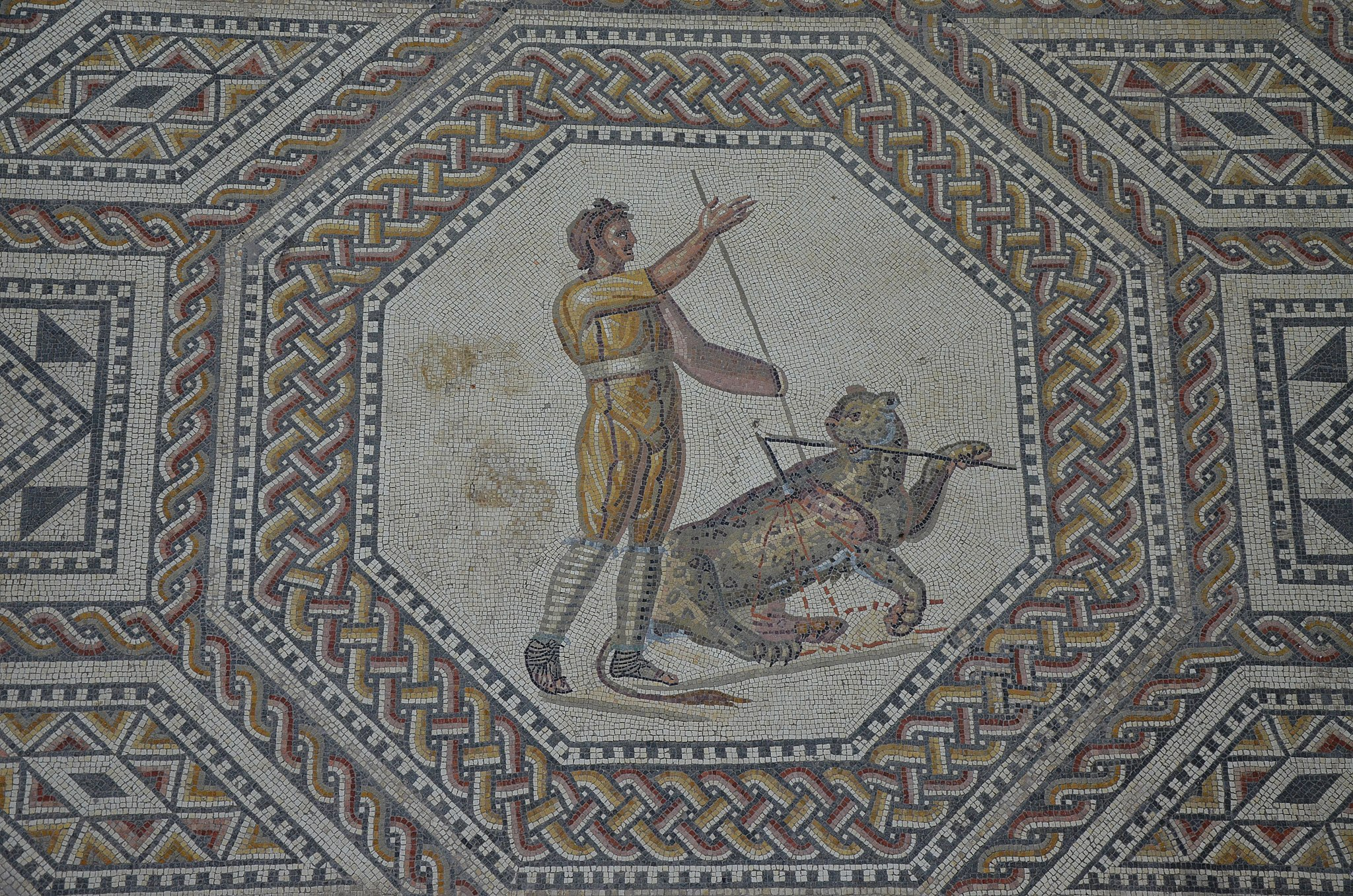 Mosaic of a panther with javelin thrower located in a Roman villa in Nennig Germany ( Wikimedia Commons )