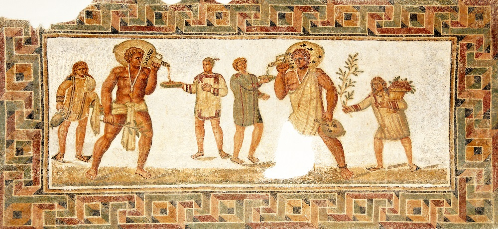 Dougga Banquet mosaic | Third-century Roman, from Dougga/Thugga in Tunisia |  Image Source