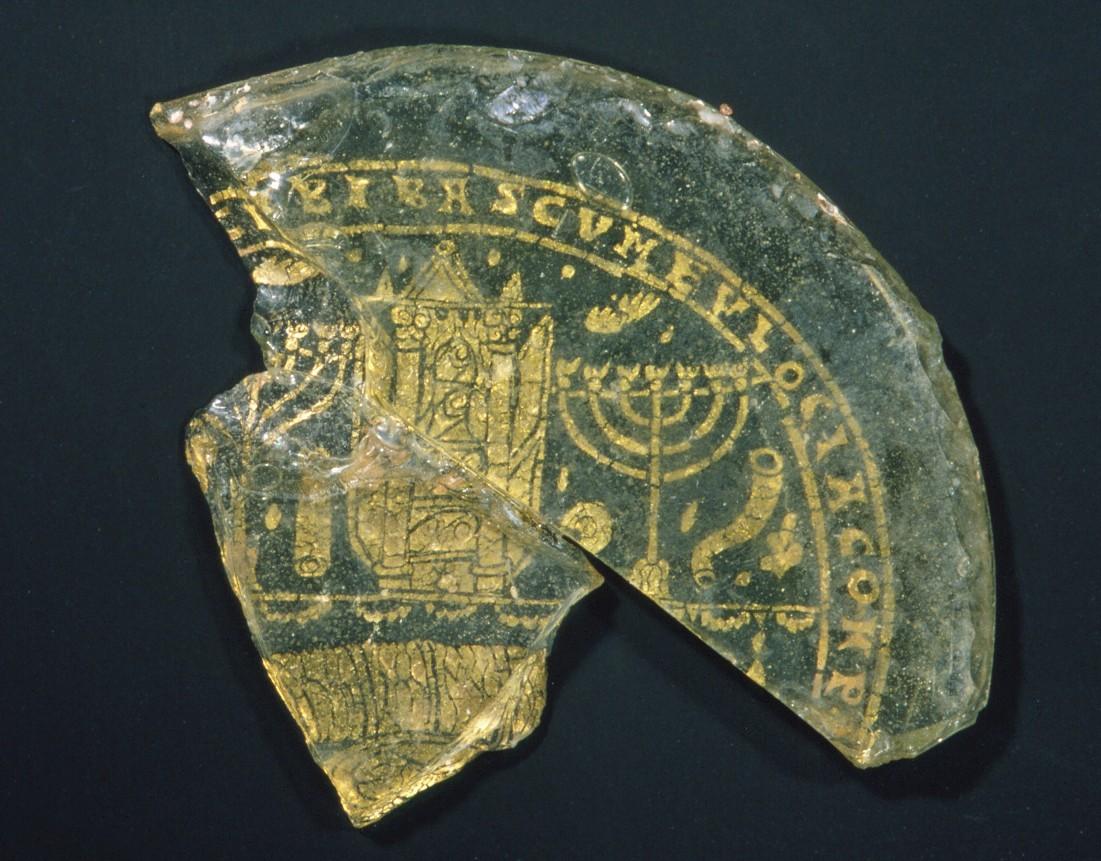 Bowl fragment featuring a menorah, Rome ca. 300-350 ( Met Museum )