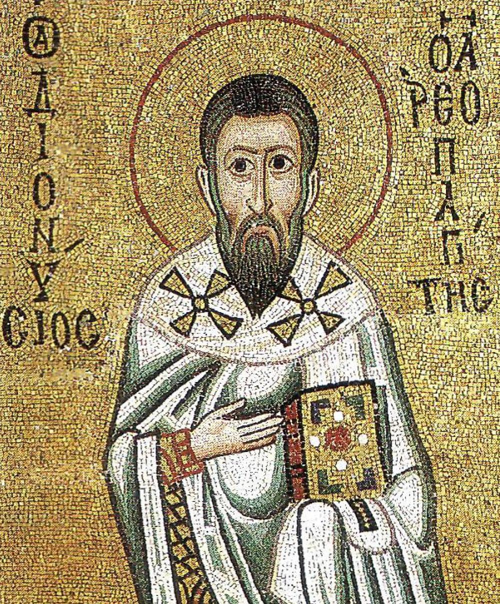 Byzantine mosaic of Dionysius the Areopagite | C11, Hosios Loukas Monastery, Boeotia |  Image Source
