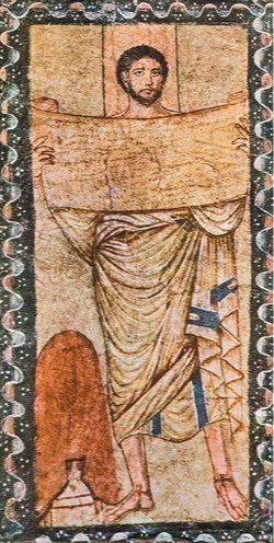 Fig. 1 Moses (or Ezra?) holding a biblical scroll, Dura Europos Synagogue ( photograph by Fred Anderegg, after Goodenough, Jewish Symbols in the Greco-Roman Period, 11, pl. v ).