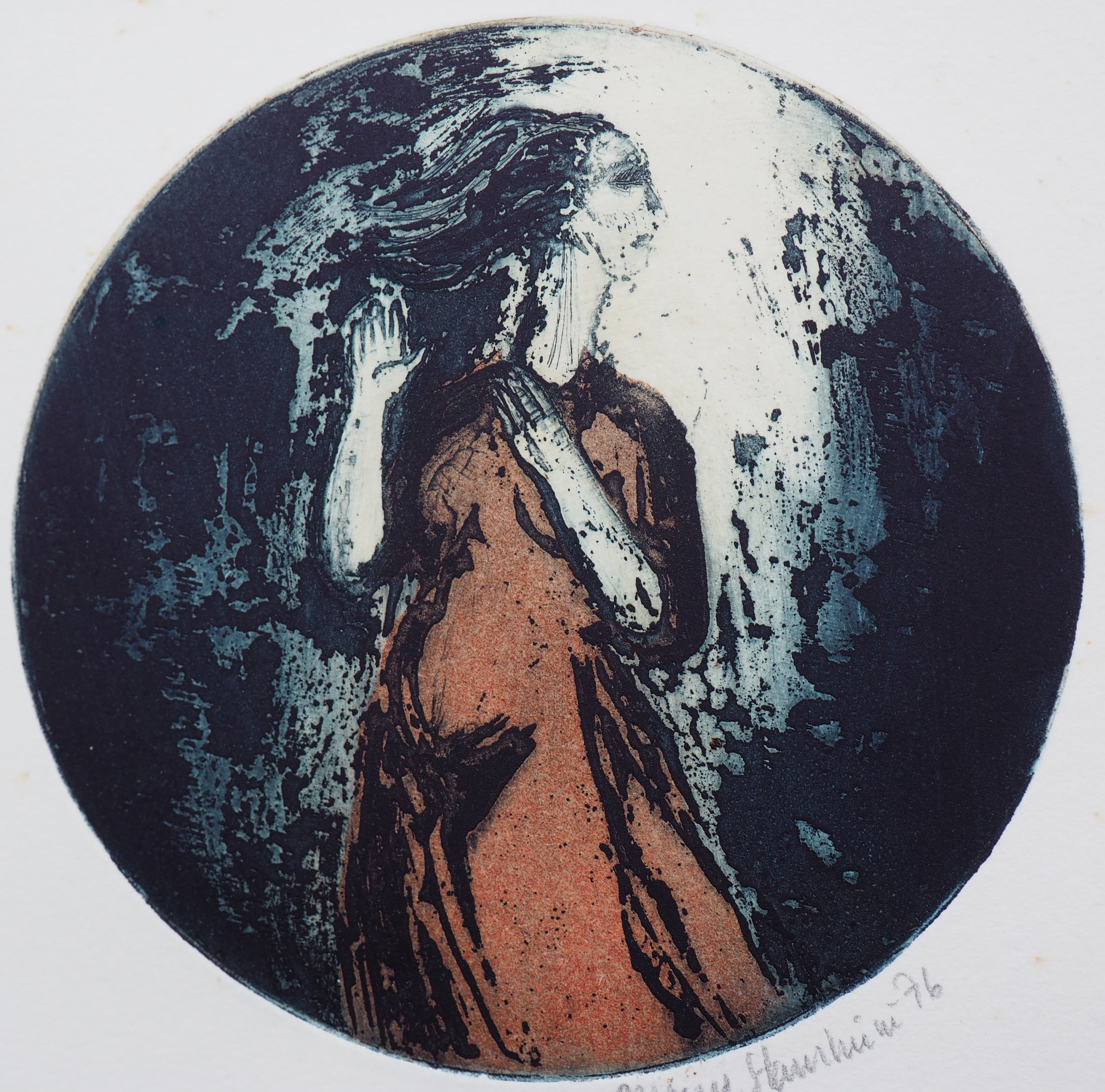 "A modern image of the Virgin by Dag Magne Staurheim: ""Mary's Song"" (etching) 1976."