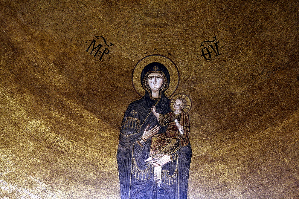 Venetian-Byzantine apse mosaic of the Virgin Mary | Eleventh-century, in the Basilica di Santa Maria Assunta, Torcello |  Image Source