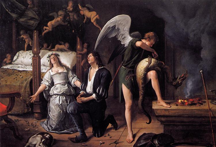 The wedding night of Tobias and Sarah by Jan Steen (1660)