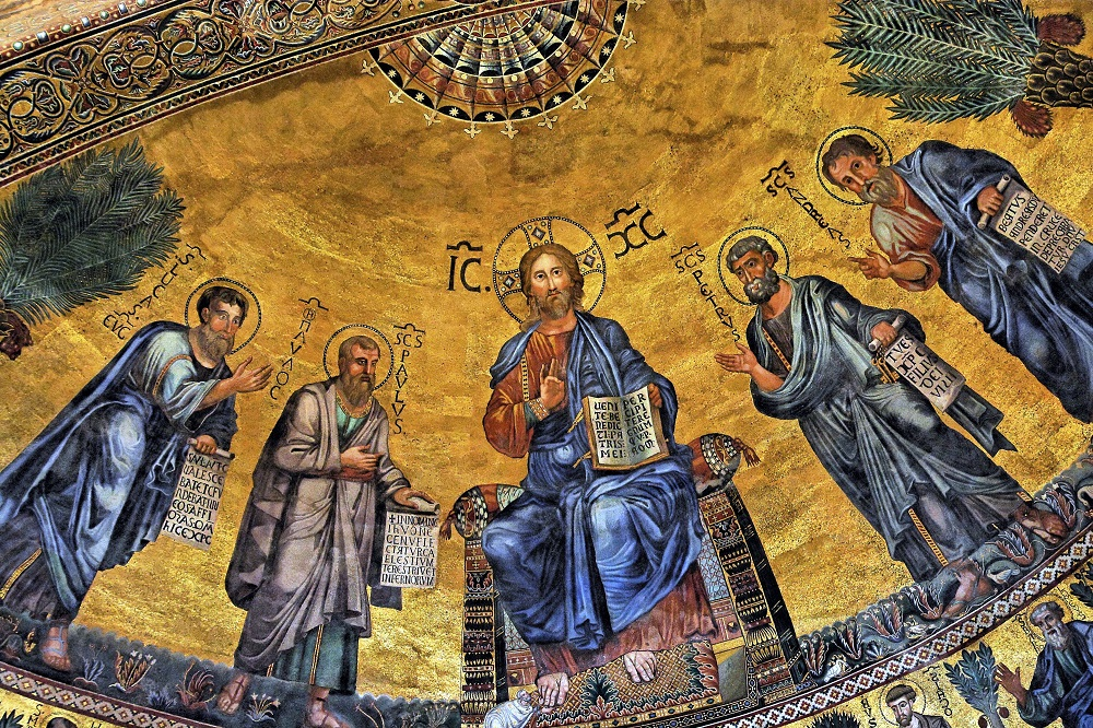 Apse mosaic of Christ, Peter, Paul, Andrew, and Luke, with Pope Honorius III at Christ's feet | Basilica of St. Paul Outside the Walls (1220), Rome |  Image Source