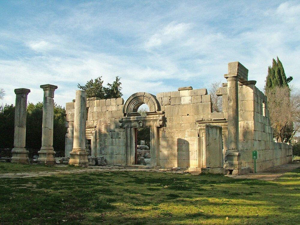 Basalt ruins of ancient synagogue | Perhaps 3rd century CE, Kfar Bar'am, Israel |  Image Source